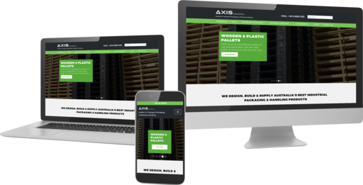 Axis company Wordpress Website displayed on multiple devices to show responsiveness