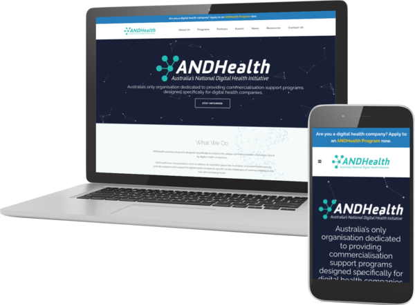 AndHealth company wordpress website displayed on multiple devices to show responsiveness