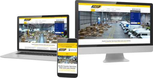 Pep company wordpress website displayed on multiple devices to show responsiveness