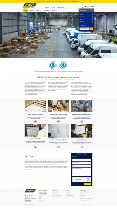 PEP company WordPress website folio screenshot